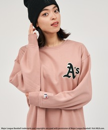 【MLB】刺繍裏毛オーバートップスピンク