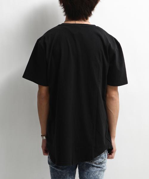 製品洗い加工ロング丈Tシャツ