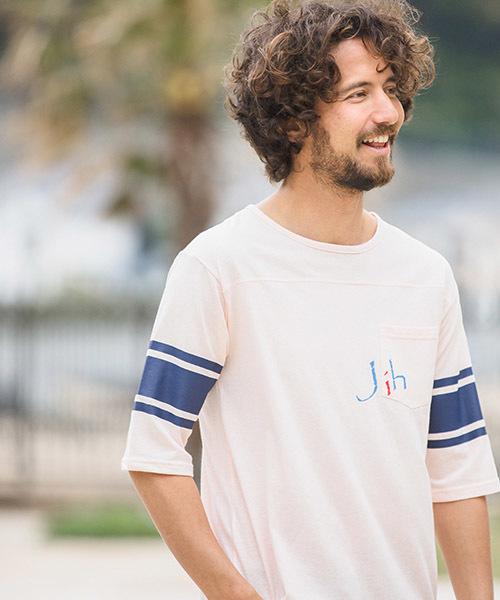 mt5101-ハーフスリーブポケットロゴプリントTシャツ