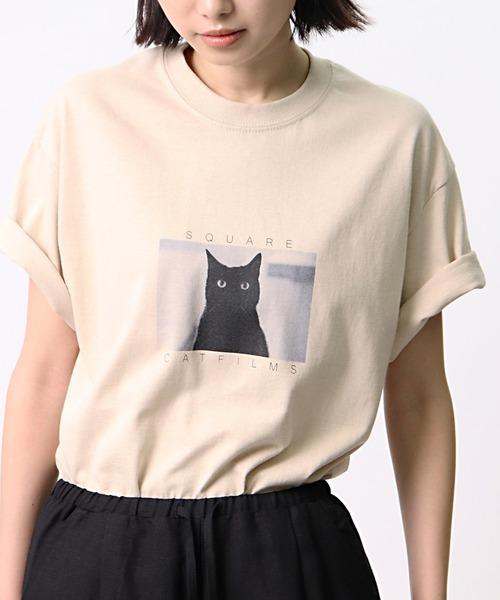 【 SQUARE CAT FILMS / スクウェアキャットフィルムス 】 ネコTシャツ / キャットTシャツ クロネコ cat t BDZ SCF TEE1
