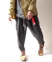 BEATJIVE(ビートジャイブ)のデニム スーツ地 ワイドパンツ テーパード イージーパンツ アンクルパンツ サルエルパンツ シェフパンツ(デニムパンツ)