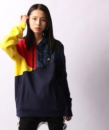 【STAPLE】配色切替 ブランドロゴ刺繍 スウェット 長袖プルオーバーパーカー(パーカー)