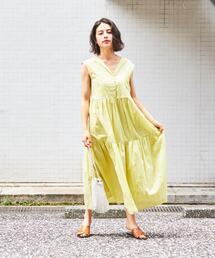 【別注】ne quittez pas × EMMEL REFINES  エリVネック ノースリーブ ロングワンピース / ヌキテパ