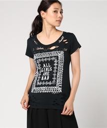 DESTROY ALL MONSTERS/AGAB プリント 安全ピン付Tシャツ