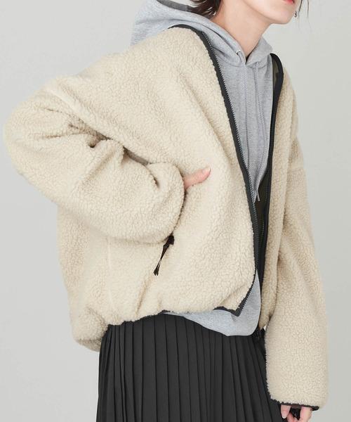 リバーシブルボアフリースジャケット