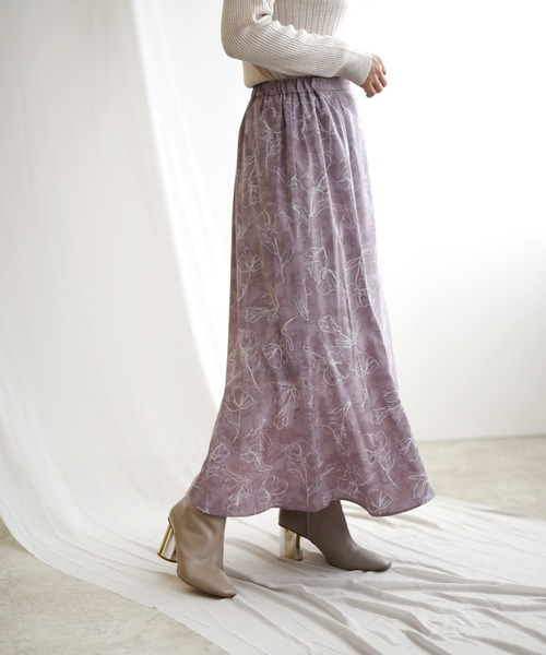 originalラインフラワームラ染めプリントスカート
