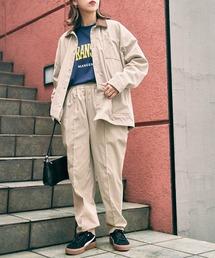 【セットアップ】ルーズシルエット クレリック カバーオールジャケット/センタープリーツ イージーパンツベージュ
