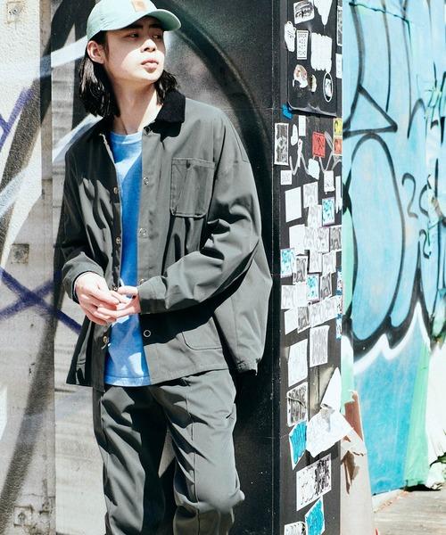 【セットアップ】ルーズシルエット クレリック カバーオールジャケット/センタープリーツ イージーパンツ