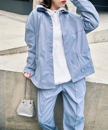 【セットアップ】ルーズシルエット クレリック カバーオールジャケット/センタープリーツ イージーパンツライトブルー