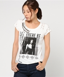 DESTROY ALL MONSTERS/LET THERE BE DARK プリント 安全ピン付Tシャツ