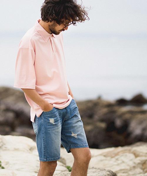 mhs1223-ルーズシルエットカットポロシャツ