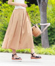 salus(サルース)の綿麻きれいめタックフレアスカート(スカート)