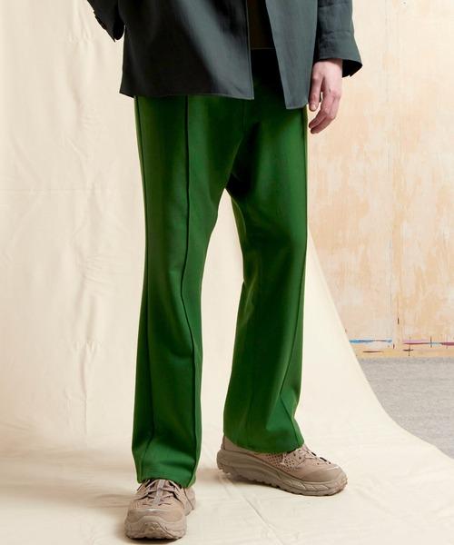 マルチファブリックピンタックフレアパンツ/デニム/カツラギ/TRストレッチスーツ地 EMMA CLOTHES