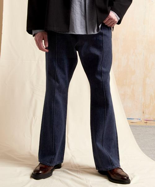 ピンタックデニムフレアパンツ EMMA CLOTHES