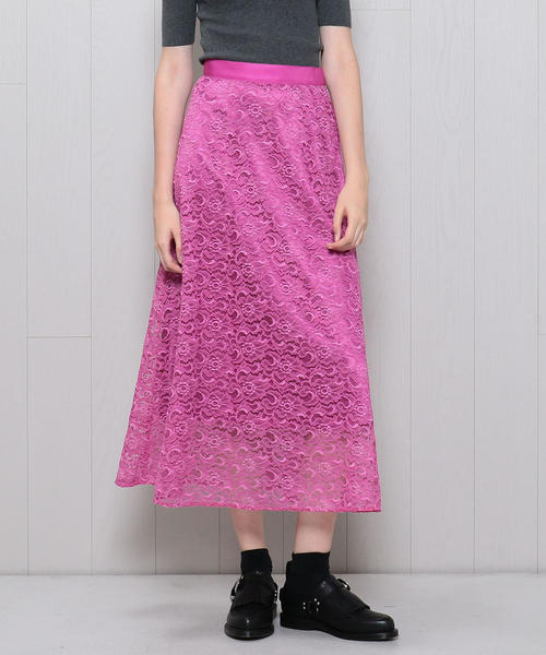 <H>COLOR LACE FLARE SKIRT/スカート о