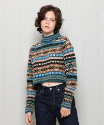 <INVERALLAN>SHORT JACQUARD TURTLE NECK KNIT/ニット