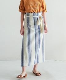 NOMBRE IMPAIR(ノンブルアンペール)の【Fabric in Italy】ブークレストライプ イージー巻きスカート(スカート)