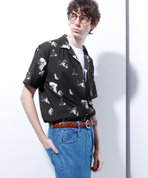 ダークフラワービッグシルエットレギュラーカラーシャツ 1/2 sleeve