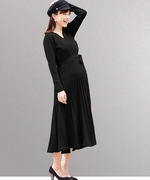 SweetMommy(授乳服&マタニティ)(スウィートマミー)の「カシュクールニットプリーツワンピ(マタニティウェア)」 ブラック