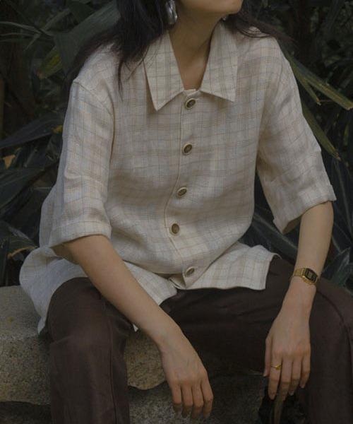 【LeonoraYang】Linen check blouse chw1522
