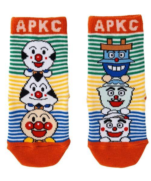 ANPANMAN KIDS COLLECTION(アンパンマンキッズコレクション)の「【アンパンマン】滑り止め加工 日本製おむすびどんぶりソックス(ソックス/靴下)」 オレンジ