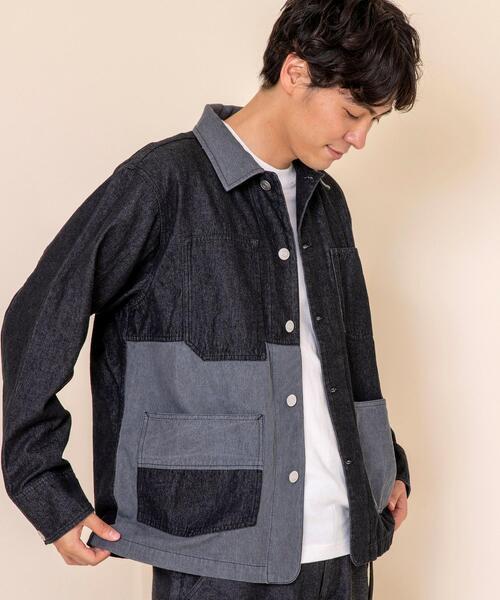 デニムパッチワークカバーオールジャケット