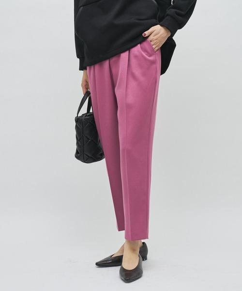 COLLAGE GALLARDAGALANTE(コラージュガリャルダガランテ)の「【在庫薄になってきました!毎日売れてる美脚パンツ】ウールライク カラー テーパード パンツ(その他パンツ)」|ピンク