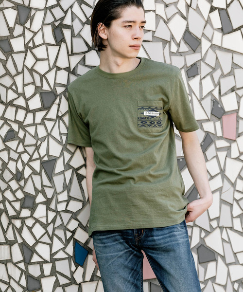 C100 天竺 ポケット付き プリントTシャツ POCKET