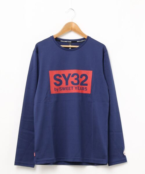 SY32 by SWEET YEARS(エスワイサーティトゥバイスィートイヤーズ)の「【SY32 by SWEET YEARS】BOXLOG L/S TEE(Tシャツ/カットソー)」|ネイビー