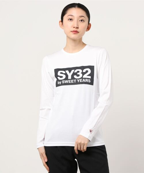 SY32 by SWEET YEARS(エスワイサーティトゥバイスィートイヤーズ)の「【SY32 by SWEET YEARS】BOXLOG L/S TEE(Tシャツ/カットソー)」|ホワイト