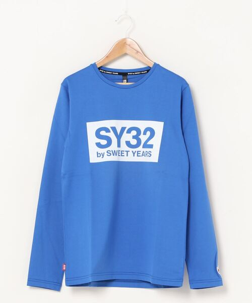 SY32 by SWEET YEARS(エスワイサーティトゥバイスィートイヤーズ)の「【SY32 by SWEET YEARS】BOXLOG L/S TEE(Tシャツ/カットソー)」|ブルー