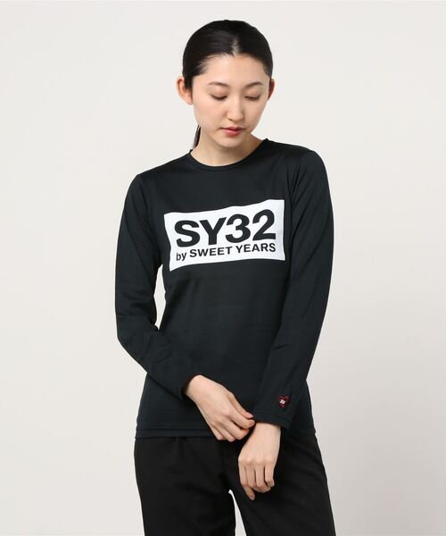SY32 by SWEET YEARS(エスワイサーティトゥバイスィートイヤーズ)の「【SY32 by SWEET YEARS】BOXLOG L/S TEE(Tシャツ/カットソー)」|ブラック