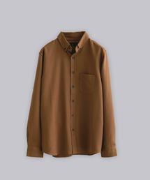 T/R ストレッチボタンダウンシャツキャメル