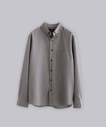T/R ストレッチボタンダウンシャツグレー