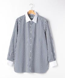[エリコフォルミコラ] ★ERRICO ロンドンストライプ クレリック レギュラーカラー シャツ