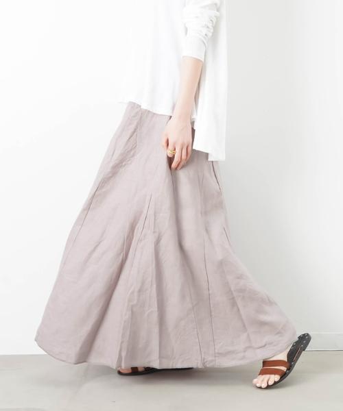 LUCA/LADY LUCK LUCA(ルカ/レディラックルカ)の「LC/LLL リネン マキシスカート(スカート)」|グレイッシュベージュ
