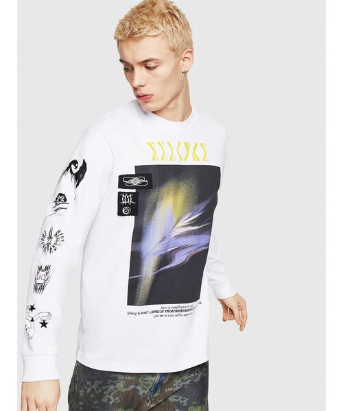 【送料無料】 メンズ DIESEL Tシャツ Tシャツ 長そで 長そで グラフィックTシャツ(Tシャツ/カットソー) DIESEL(ディーゼル)のファッション通販, 戸畑区:6f2fd18a --- skoda-tmn.ru