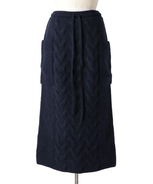 Drawer ウールカシミヤケーブルニットスカート