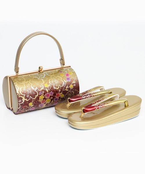 KYOETSU(キョウエツ)の「草履バッグセット 成人式 振袖用 2段草履 日本製生地 2点セット(草履、バッグ) Bタイプ(和装小物)」|ゴールド
