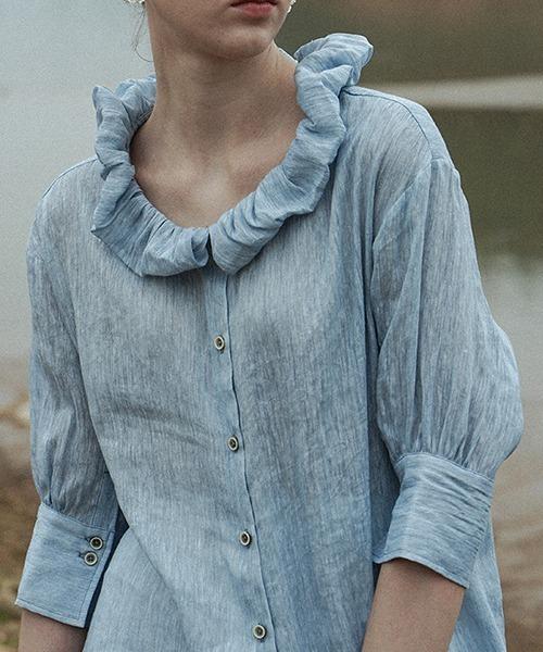 【LeonoraYang】Frilled collar linen shirt chw1525