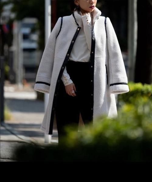 LOVELESS(ラブレス)の「【otonaMUSE11月号掲載】パイピング ボア ロングコート(トレンチコート)」|オフホワイト