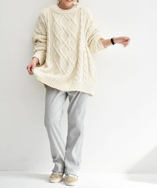 裾メロウリブパンツ