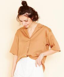 BY オープンカラー5分袖シャツ 2 -手洗い可能- ◆