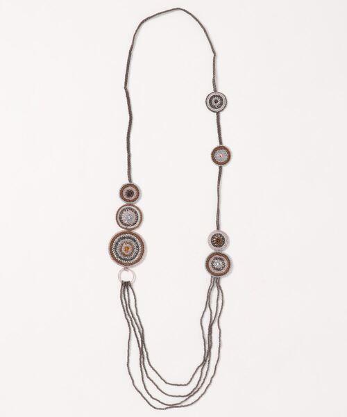 KU-CROISSANT(クークロワッサン)の「【VIDA DULCE】ハンドクラフトビーズネックレス(ネックレス)」|ブラウン