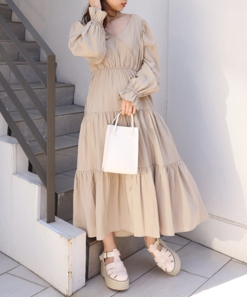 one after another NICE CLAUP(ワンアフターアナザーナイスクラップ)の「【ZOZO限定】カシュクールバックリボンワンピース(ワンピース)」|ベージュ