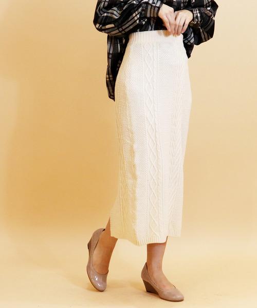 【manic monday】ケーブル編みロングスカート