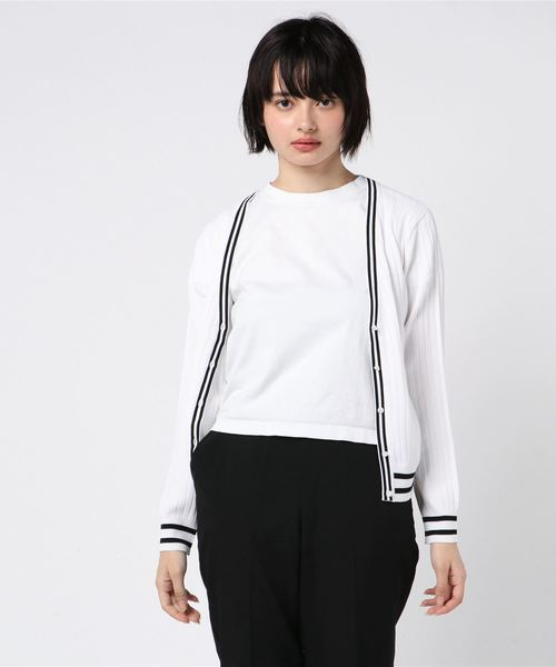 MEW'S REFINED CLOTHES(ミューズリファインドクローズ)の「洗えるラインVカーディガン(カーディガン)」|ホワイト