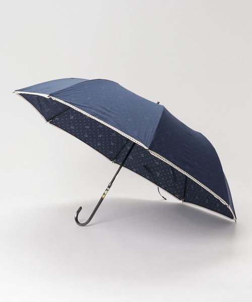 ∴晴雨兼用  T/C透かし柄ドット&リボンショートワイド 折りたたみ傘 27379