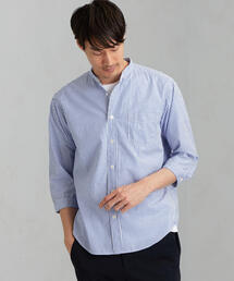 CM 綿麻 ブルーストライプ バンドカラー 7分袖 / シャツ