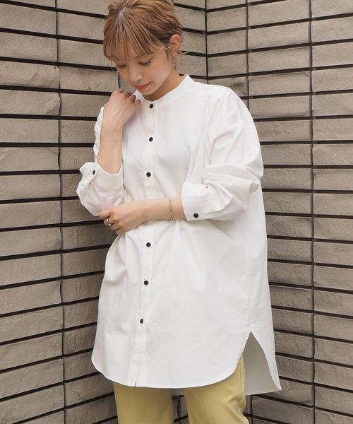 tiptop(ティップトップ)の「2020SS <pocket>【Web限定アイテム】バンドカラーチュニックシャツ(シャツ/ブラウス)」 アイボリー